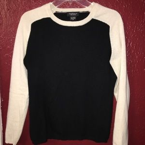 Lord and Taylor Black and Cream Cashmere Sweater